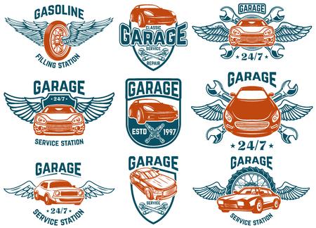 Ilustración de Car repair, garage, auto service emblems. Design elements for logo, label, sign. Vector image - Imagen libre de derechos