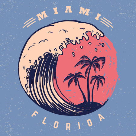 Illustration for Miami. Poster template with lettering and palms. Vector image - Royalty Free Image