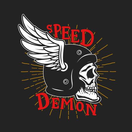 Illustration for Speed demon. Skull in winged helmet. Design element for poster,card, t shirt, emblem, sign. Vector illustration - Royalty Free Image