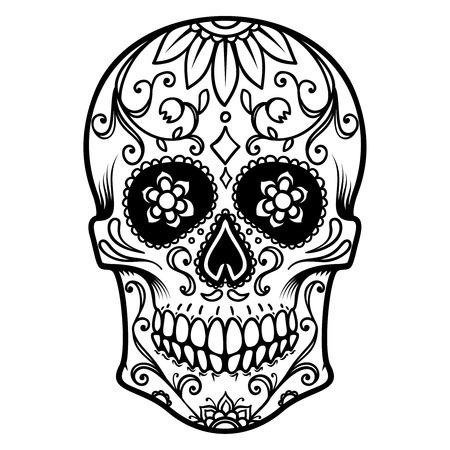Illustration pour Illustration of mexican sugar skull. Day of the dead. Dia de los muertos.Design element for label, emblem, sign, poster, t shirt. - image libre de droit