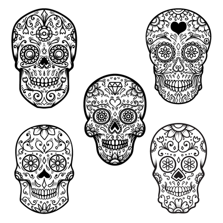 Illustration pour Set of colorful sugar skull isolated on white background. Day of the dead. Dia de los muertos. Design element for poster, card, banner, print. - image libre de droit