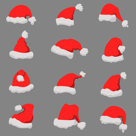 Illustration for Set of Santa Claus hats Christmas theme. Design element or poster, greeting card, banner, flyer, decoration. Vector illustration - Royalty Free Image