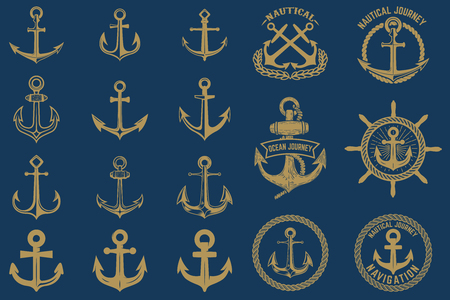 Illustration pour Set of nautical emblems and design elements in vintage style. Anchors labels set on blue background. - image libre de droit