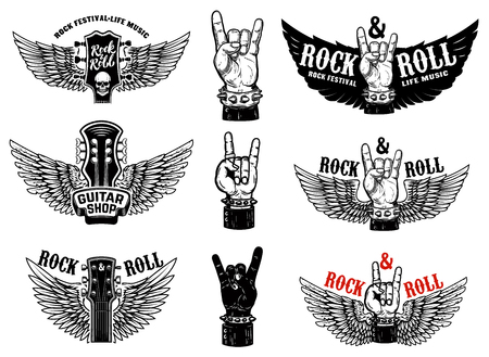 Illustration for Set of vintage rock music fest emblems. Hand with Rock and roll sign with wings. Design element for logo, label, sign, poster, t shirt. Vector illustration - Royalty Free Image