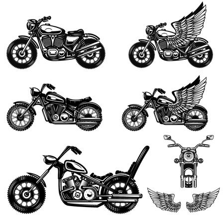 Ilustración de Set of motorcycle illustrations . Design element for logo, label, emblem, sign, poster. Vector image - Imagen libre de derechos