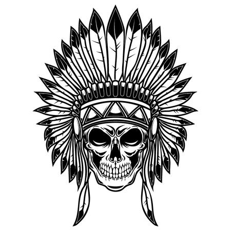 Illustration pour Skull in native american indians headdress. Design element for poster, card, banner, sign, t shirt. Vector illustration - image libre de droit