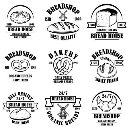 Illustration pour Set of bakery, bread shop emblems. Design element for logo, label, sign, banner, poster. Vector illustration - image libre de droit