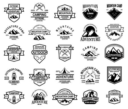 Illustration pour Big set of mountain camp, outdoor adventure emblems. Design element for logo, emblem, sign, label. Vector illustration - image libre de droit