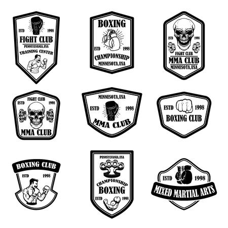 Illustration pour Set of mma and boxing club emblems. Design element for logo, label, sign, poster, t shirt. Vector illustration - image libre de droit