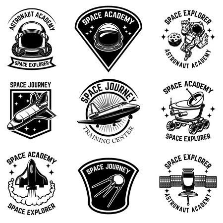 Illustration pour Set of space camp label templates. Design element for logo, label, sign, poster, t shirt. Vector illustration - image libre de droit