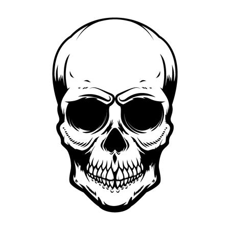 Illustration pour Human skull isolated on white background. Design element for poster, card, banner, t shirt, emblem, sign. Vector illustration - image libre de droit