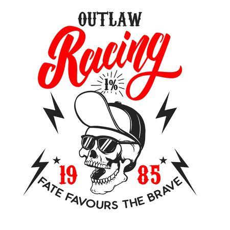 Illustration pour Outlaw racing .Poster template with skull. Design element for poster, flyer, card, banner. Vector illustration - image libre de droit