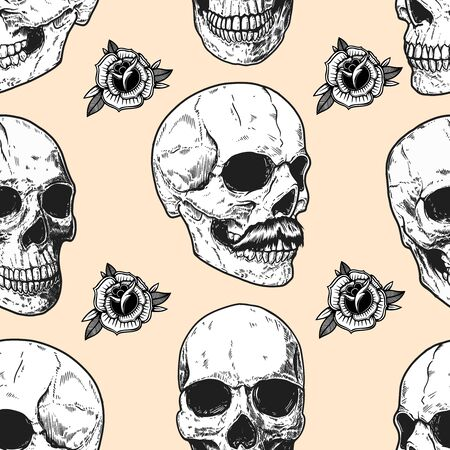 Photo pour Seamless pattern with skulls and roses. Design element for poster, card, banner, t shirt. Vector illustration - image libre de droit