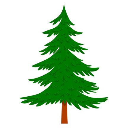Illustration pour Illustration of pine tree in cartoon style isolated on white background. Design element for poster, banner, card, emblem. Vector illustration - image libre de droit