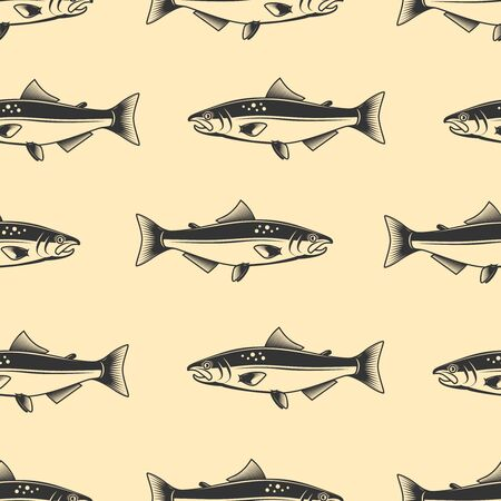 Illustration pour Seamless pattern with salmons. Seafood pattern. Design element for poster, card, banner, flyer. Vector illustration - image libre de droit