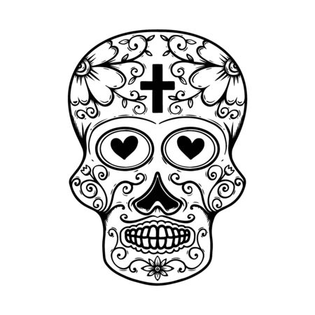 Illustration pour Vintage mexican sugar skull isolated on white background. - image libre de droit