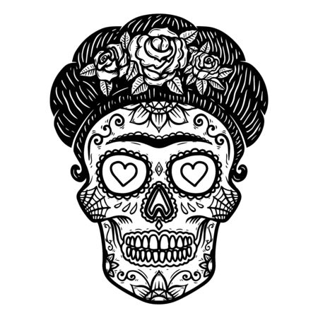 Illustration pour Vintage mexican woman skull isolated on white background. Design element for  label, sign, poster. Vector illustration - image libre de droit