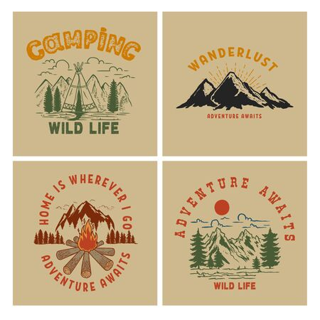 Illustration pour Set of  Vintage poster designs with mountains, forest silhouettes, campfire, tourist backpack. - image libre de droit