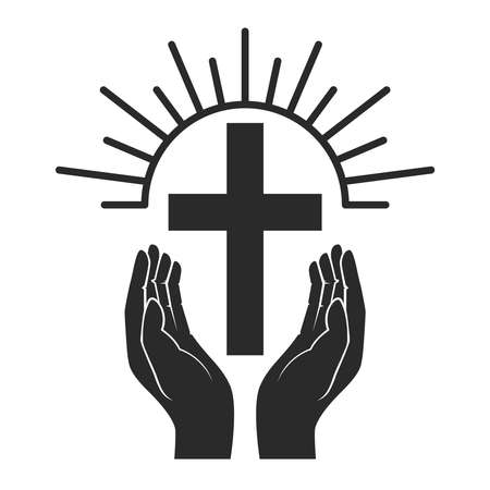 Hands with shining holy cross. Design element for  label, emblem, sign, badge. Vector illustration