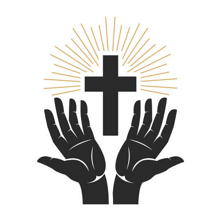 Hands with shining holy cross. Design element for logo, label, emblem, sign, badge. Vector illustration