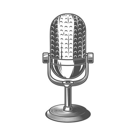 Illustration pour Illustration of retro microphone isolated on white background. - image libre de droit