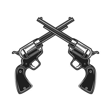 Illustration for Illustration of crossed revolvers in engraving style. Design element for  label, sign, poster, t shirt. Vector illustration - Royalty Free Image