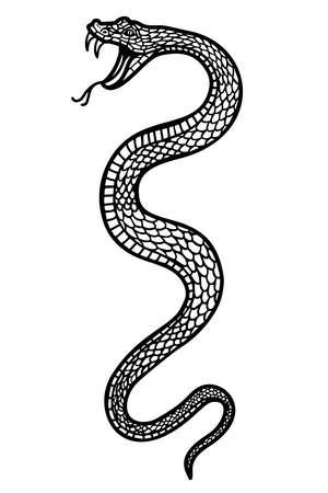 Illustration pour Illustration of poisonous snake in engraving style. Design element for label, emblem, sign, badge. Vector illustration - image libre de droit