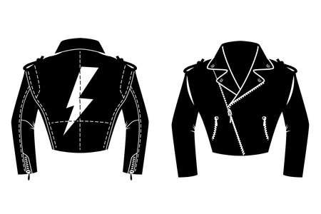 Illustration pour Illustration of rocker leather jacket. Design element for   label, sign. badge. Vector illustration - image libre de droit
