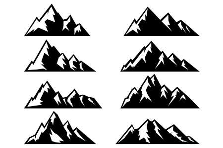 Illustration pour Set of icons of mountains. - image libre de droit