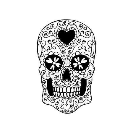Illustration pour Illustration of mexican sugar skull. Design element for logo, emblem, sign, poster, card, banner. Vector illustration - image libre de droit