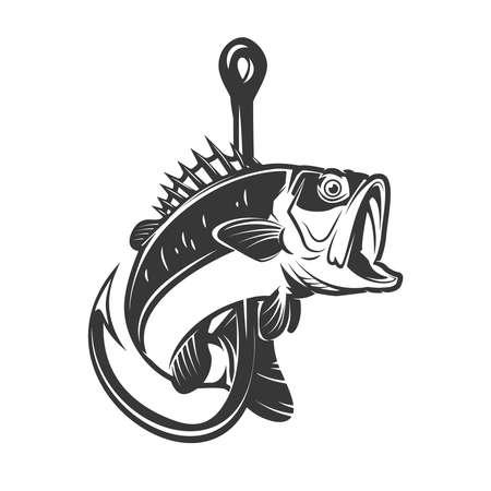 Illustration pour Illustration of bass and fishing hook. Design element for poster, card, banner, sign, emblem. Vector illustration - image libre de droit