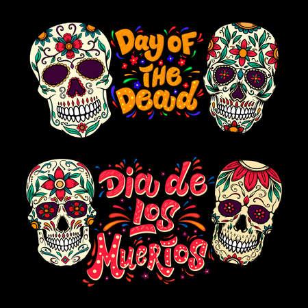 Illustration for Dia de los muertos (Day of the dead). Lettering phrase with sugar skulls illustrations. Design element for flyer, emblem, sign, poster, card, banner. Vector illustration - Royalty Free Image