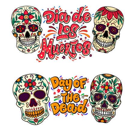 Illustration pour Dia de los muertos (Day of the dead). Lettering phrase with sugar skulls illustrations. Design element for flyer, emblem, sign, poster, card, banner. Vector illustration - image libre de droit