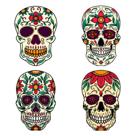 Illustration pour Set of Illustration of mexican sugar skull. Design element for logo, emblem, sign, poster, card, banner. Vector illustration - image libre de droit