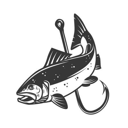 Illustration pour Illustration of salmon and fishing hook. Design element for poster, card, banner, sign, emblem. Vector illustration - image libre de droit