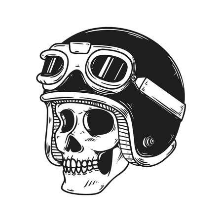Illustration pour Illustration of biker skull in racer helmet. Design element for  label, sign, emblem, poster. Vector illustration - image libre de droit