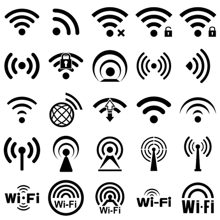 Illustration for Set of twenty five  different black wireless and wifi icons for remote access and communication via radio waves - Royalty Free Image