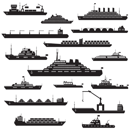 Illustration pour Set of black and white silhouette ships and boats icons showing passenger lines cruise ship LNG carrier container ship tanker in frontal  views - image libre de droit