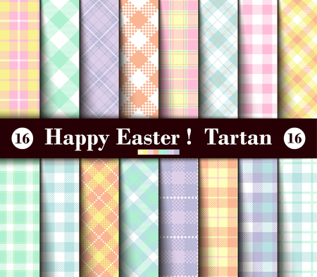 Photo for Sixteen Set of Easter Tartan Seamless Patterns. Collection of Plaid with Yellow, Blue, Green, Pink, Red, Lilac, Purple and White Pastel Colors. Trendy Tiles Vector Illustration for Wallpapers. - Royalty Free Image