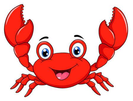 Illustration for Cute Happy Crab cartoon illustration - Royalty Free Image