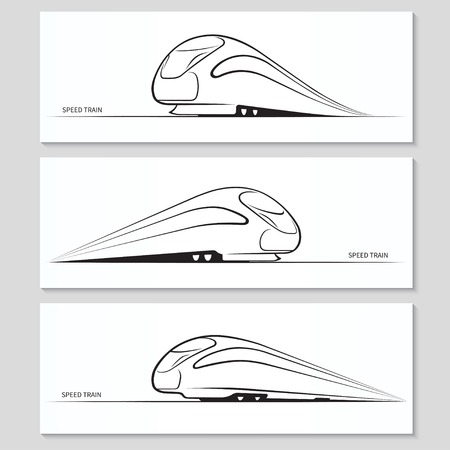 Illustration pour Set of modern speed train silhouettes and contours - image libre de droit