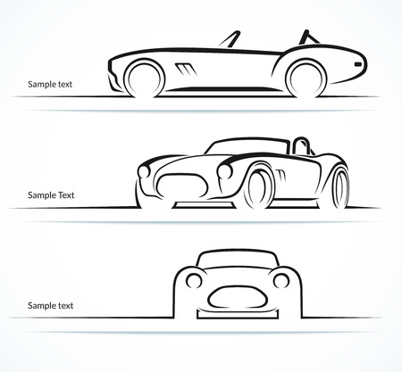 Illustration for Set of vintage classic sports car silhouettes - Royalty Free Image