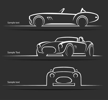 Ilustración de Set of vintage classic sports car silhouettes, outlines, contours  isolated on dark background. Vector illustration - Imagen libre de derechos