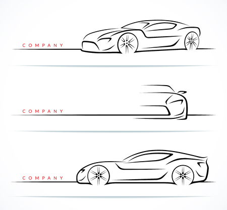 Ilustración de Set of luxury sports car silhouettes isolated on white background. Front and side view. Vector illustration - Imagen libre de derechos