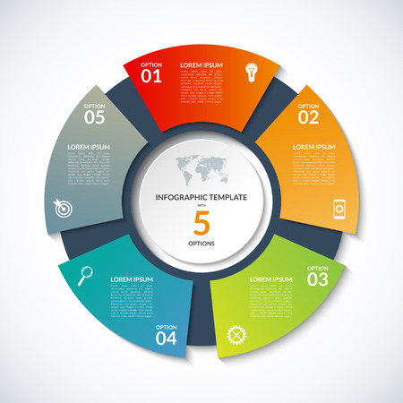 Illustration for circle template for infographics. Business concept with 5 options, steps, parts, segments. Banner for cycling diagram, round chart, pie chart, business presentation, annual report, web design - Royalty Free Image