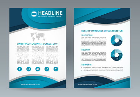 Business brochure design template. A4 size. layout with icons and infographic elements. Can be used for booklet, leaflet, catalog, annual report, presentation, magazine, advertising etc.