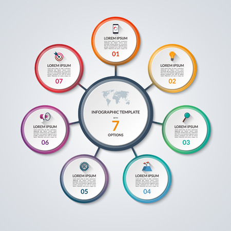 Illustration pour Infographic circle diagram. Vector banner with 7 steps, parts, options. Template for business infographics with the set of flat icons and design elements. Can be used for cycle diagram, round chart. - image libre de droit