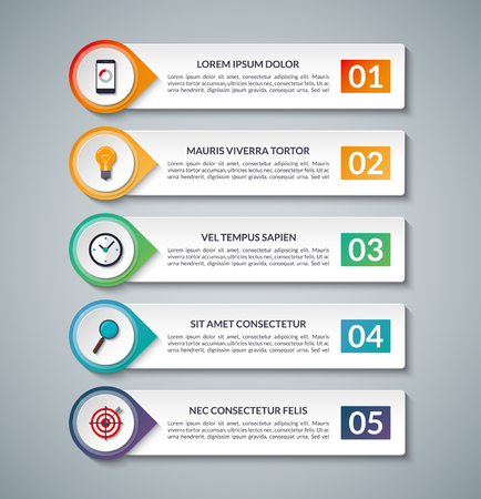 Illustration pour Business infographic banner. template with 5 options, steps, parts. Can be used for diagram, graph, report, presentation, chart, web design, data visualization. - image libre de droit