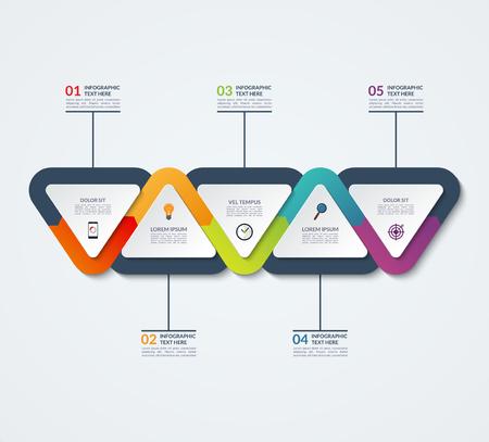 Ilustración de Infographic template of triangular elements. Business concept with 5 options, steps, parts, segments. for web, timeline infographics, workflow layout, diagram, chart, annual report - Imagen libre de derechos
