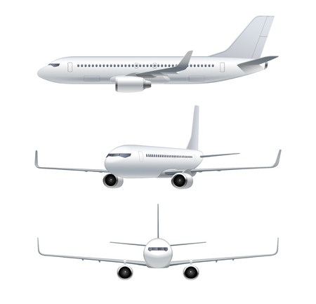Illustration pour Flying airplane, jet aircraft, airliner. Front, side, 3d perspective view of detailed passenger air plane isolated on white background. Vector illustration - image libre de droit